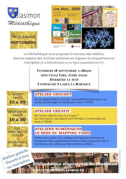 Septembre à la bibliothèque de Blasimon : spectacle et reprise des ateliers