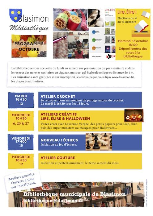 Septembre à la bibliothèque de Blasimon<br/>Ateliers créatifs, crochet... Et spectacle Lire, élire 2021 !